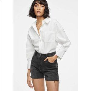 ANINE BING Bonnie Denim Cutoff Shorts In Charcoal